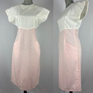 Vintage 80s 90s Simon Chang pink and white fitted madmen style cocktail dress.